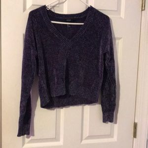 Purple cropped fuzzy sweater